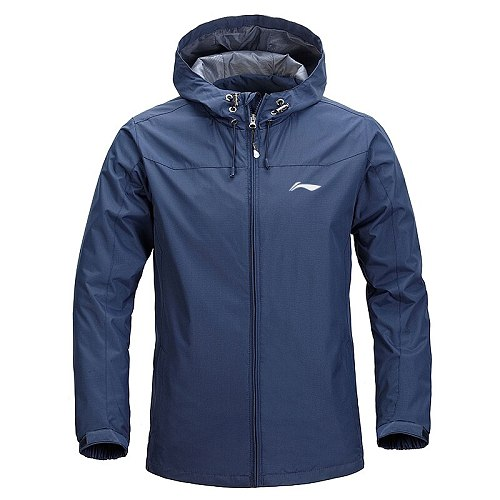 Li-Ning Men Autumn And Winter  Sports Coat Plush Thickened Hooded Jacket Outdoor lining  Windproof Mountaineering Sportwear