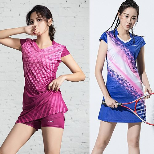 New Women Girls Sports Dress + Inner shorts Ladies Tennis Dresses With Shorts Badminton Dress Clothes Gym Running Sportswear
