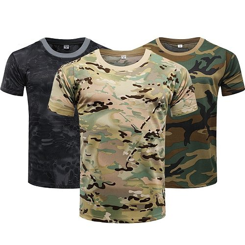 Camouflage Tactical Shirt Short Sleeve Men's Quick Dry Combat T-Shirt Military Army T Shirt Camo Outdoor Hiking Hunting Shirts