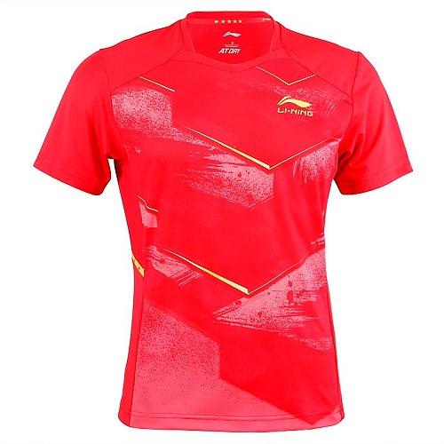 Li-Ning Men Badminton Shirt Short Sleeve Competition suit Table Tennis National Team  Sports Top pingpong shirts AAYP349