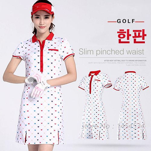 Send Belt! Clothes Women Printing Dress S-XL Fitness Lady Tennis Slim Sportswear White Love Moisture Wicking Golf/Tennis Dress