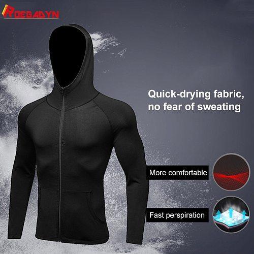 ROEGADYN Plus Velvet Sportswear For Men Sportswear Hooded Sportswear Gym Set Men Zipper Sports Jacket Men For Running Fitness