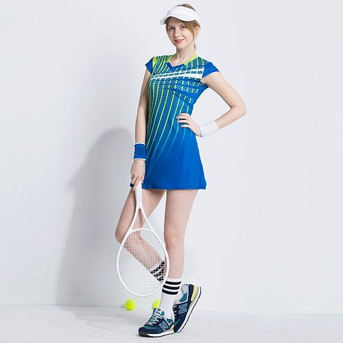 New Summer Women Sports Badminton Dress Female Tennis Training Suit Was Thin Quick Dry Sportswear for Girls with Safety Shorts