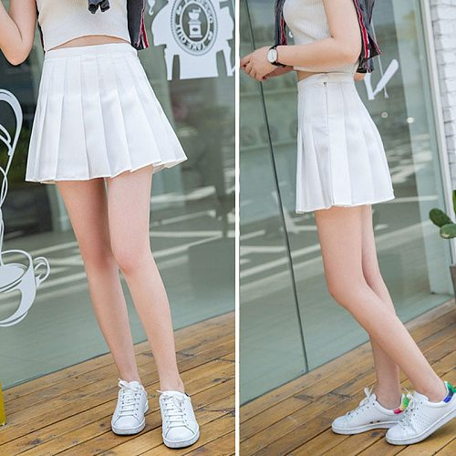 Girl Pleated Skirt Zip Short Dress With Inner Shorts Underpant Table Tennis Shorts White Black For Student Cheerleader Women
