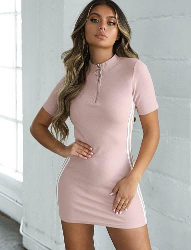 Women's Tennis Dress Casual Short Sleeve Evening Party Short Dress Bodycon Long Sport Top New Patchwork Zipper Mini Skinny 2019