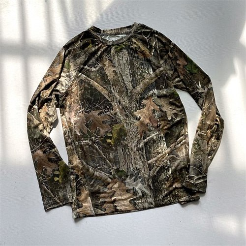 Men Hunting T Shirt Camouflage Shirts Men's Long Sleeve Performance T-Shirt Lightweight Breathable Quick Dry USA Size S-3XL