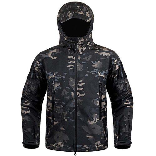 Hiking Jackets Shark Skin Soft Shell Clothes Tactical Jacket Mens Military Windbreaker Flight Pilot Hood Fleece Field Jacket 1
