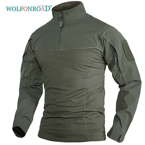 WOLFONROAD Hunting long sleeve T-shirts Police Security Tactical Shirts Mens workout Training Tee Shirt W/ Zipper Pockets Tops