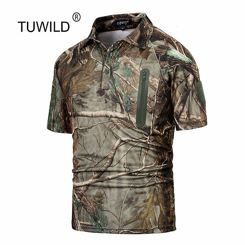 New summer quick-drying T-shirt camouflage short-sleeved outdoor tactical camouflage shirt paintball air gun hunting breathable