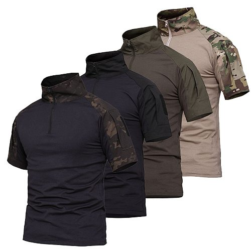 Camouflage Frog Suit Short Sleeve Cotton Men's T-shirt Plus Sizes Stitching Tactical Hunting Fishing Male Shirt Outdoor Sports