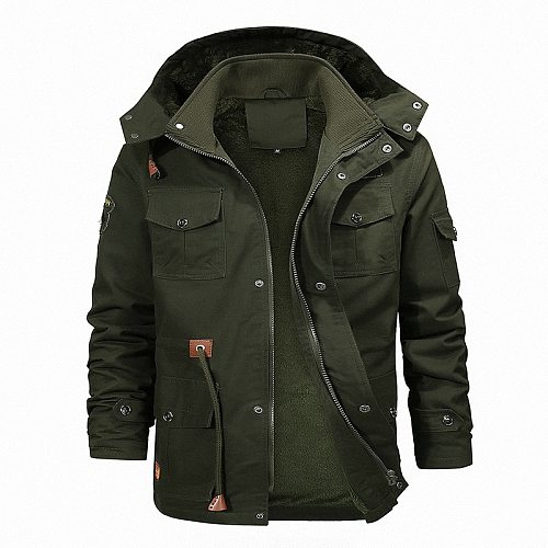 Men Outdoor Coat Fleece Lining Multi-Pocket Winter Warm Jacket for Hunting Hiking Camping Waterproof Fashion Casual Black Khaki