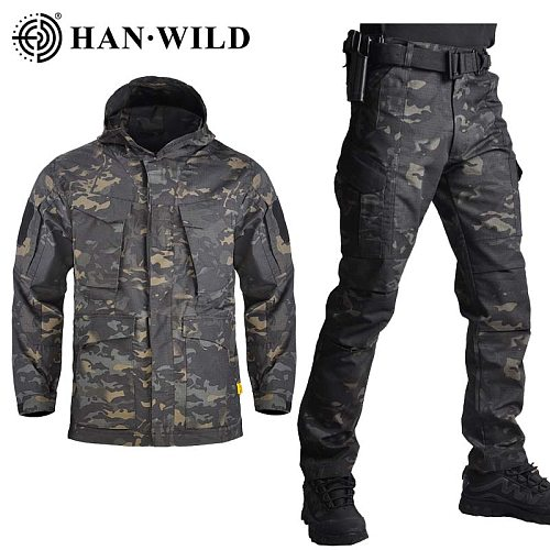 HAN WILD M65 Military Camouflage Jackets & Pants US Army Tactical Men's Windbreaker Hoodie Field Jacket Outwear Casaco Masculino