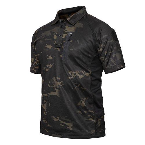 Summer Quick Dry Tactical T Shirt Men Outdoor Camouflage Leisure Shirt Short Sleeve Multicam Black Mandrake(SKU051277)