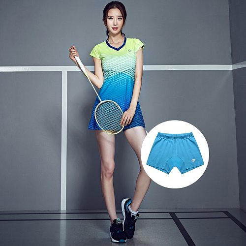 Sport Women Tennis Dress Badminton Competition Training Clothes Set Quick Dry Grid Table Tennis Sportswear with Safety Shorts