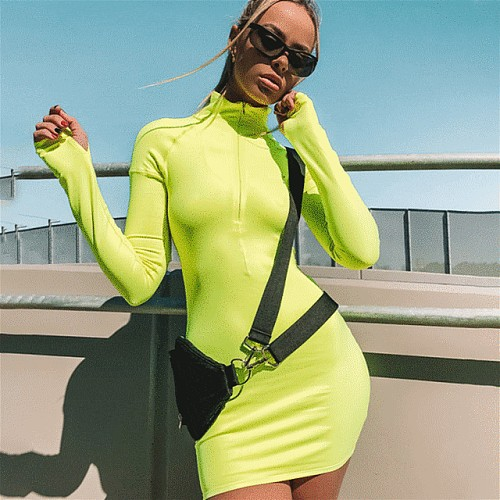 2020 Women Sportswear Dress Summer Fashion Long Sleeve Solid Color Half Zipper Turtleneck Female Tennis Bodycon Dresses