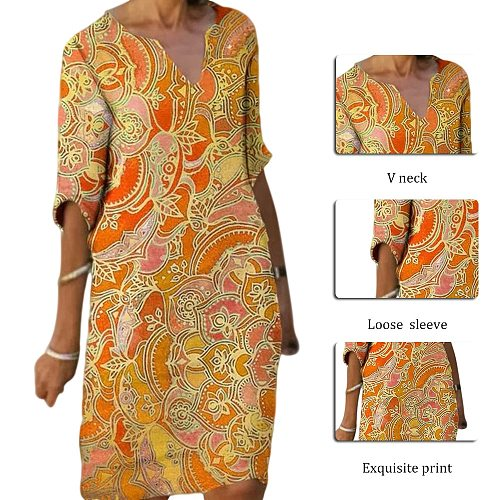 Half Sleeved V Neck Printed Loose Dress Women's Fashion Casual Vintage Spring Autumn All-match Plus Size Beach Dresses Vestidos