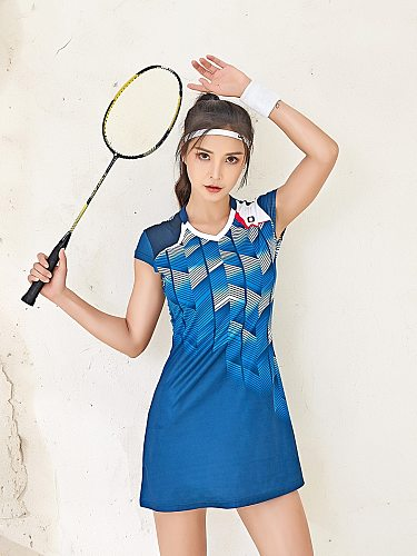 Sport Badminton Dress Quick Dry Breathable Short Sleeve with Bottoming Safety Shorts Anti-going Women Tennis Dress Suit