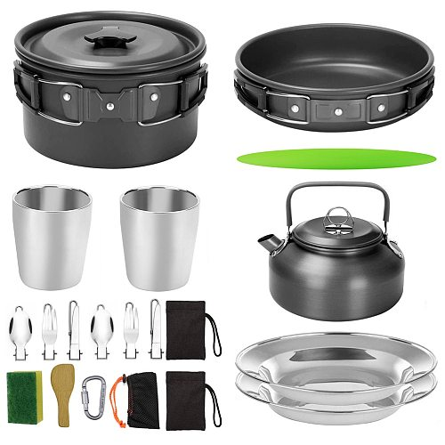 1 Set 18 Pcs Outdoor Cooker Camping Cookware Multipurpose Kitchenware