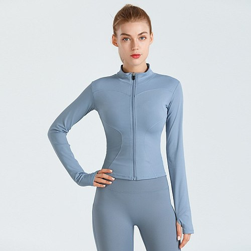 Sport Jacket Women Sportswear Fitness Yoga shirts zip sports top running jacket with thumb cut plug size yoga Coats Training