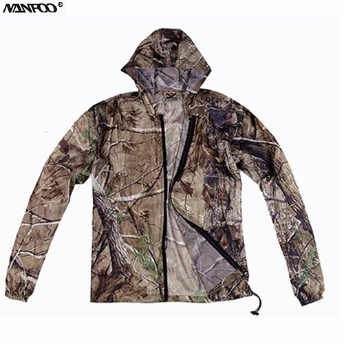 Summer Ultra-Thin Tree Bionic Camouflage Hunting Jacket  Waterproof Cycling Fishing Hooded Jacket Outdoor Sunscreen Sports Top