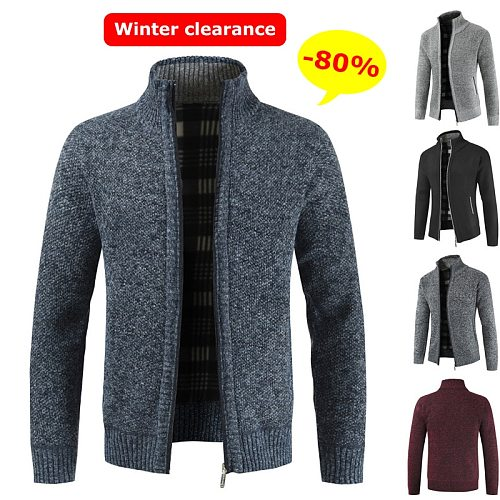 The New Men's Slim Fit Knitted Jacket Spring Stand-up Collar Polyester Fleece Zip Jacket Warm and Breathable Male Wine Red Blue