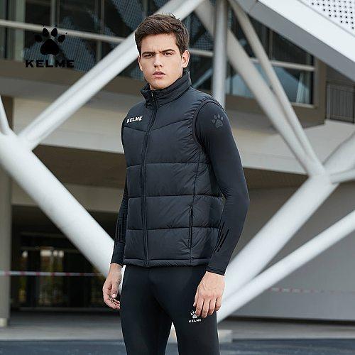 KELME Men's Winter Vest Cotton Jacket Football Thickened Waistcoat Warm Padded Coat  K15P022-2