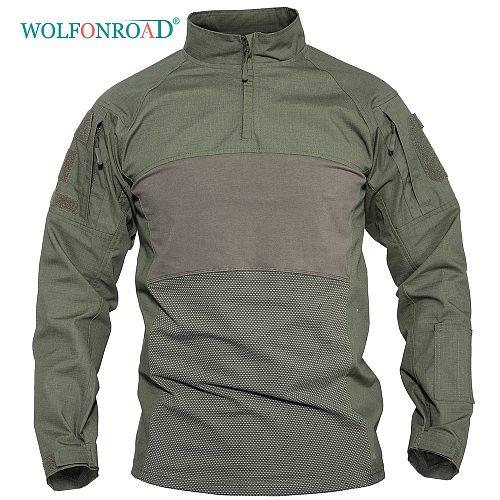 WOLFONROAD Men's Outdoor Hunting Tactical Shirts Air Soft Combat Tee Shirts Green Navy Army Military Shirts Gray Hunting T-shirt