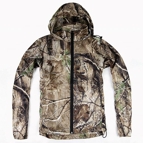 Summer Waterproof  Bionic Camouflage Skin Clothing Tops Male Hunting Fishing Quick Dry Sunscreen Hooded Jacket Ghillie Suits