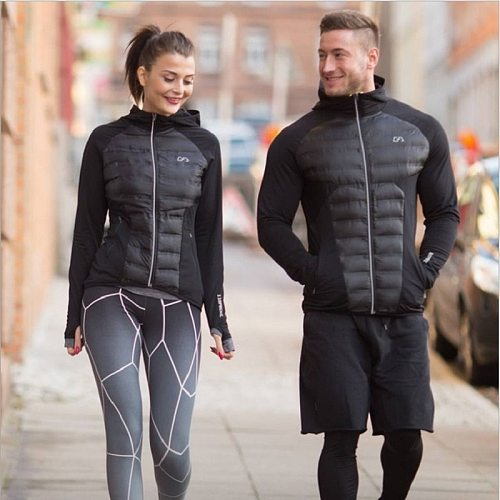 Winter Men's New Thick Sports Training Suit Warm Windproof Couple Outdoor Jackets Breathable Thick Hooded Zip Slim Gym Clothing