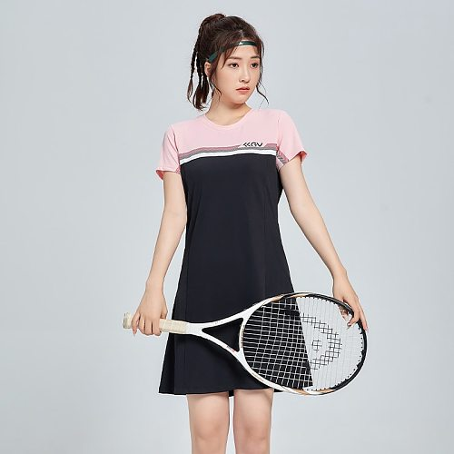 Women's Tennis Dresses Running fitness gym Girls Badminton Dress, Female Slim Golf yoga Dance Party Sport short sleeves shirts