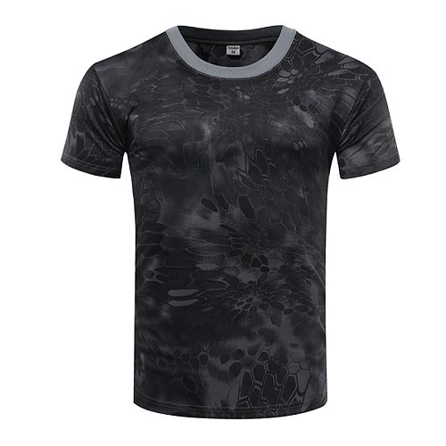 Men's Camo Combat Tactical Shirt Short Sleeve Quick Dry T-Shirt Camouflage Outdoor Hunting Shirts Military Army T Shirt