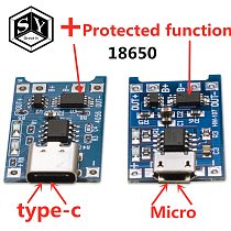 1PCS Great IT 5V 1A Micro USB 18650 type-c Lithium Battery Charging Board Charger Module+Protection Dual Functions TP4056 18650