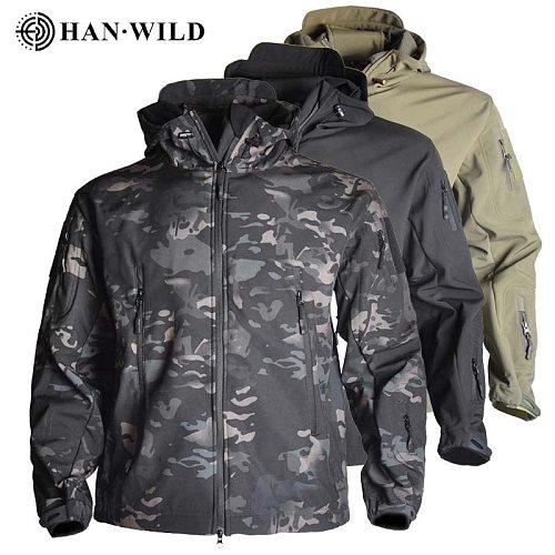 Outdoor  Shark Skin Hunting Jackets Shell Military Tactical Jacket Men Waterproof Fleece Clothing Multicam Coat Windbreakers 4XL