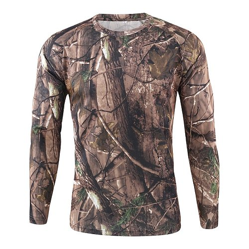 New Autumn Spring Men outdoor sports Long Sleeve Tactical Camouflage T-shirt Breathable Quick Dry Military Army Hunting T shirt