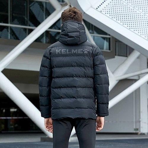 KELME Men's Cotton Jacket Couple Hooded Warm Coat Training Sports Team Uniform Cotton Padded Overcoat 3881405