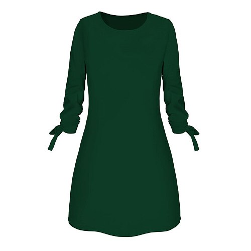 Ladies One-pieces Dress Solid Color Rounded Neck Long Sleeves Casual Dress for Spring Autumn SEC88