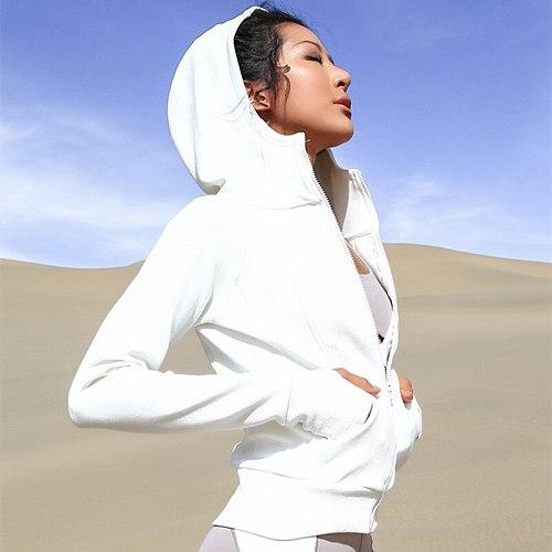 Women's Long Sleeves Full Zip Running Track Jacket Warmer Workout Coat Slim Sportswear Yoga Jacket Hooded Fitness Sweatshirt