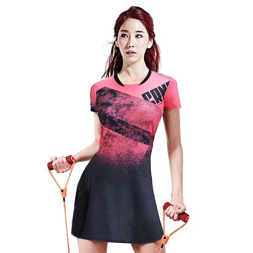 Women Tennis Dress Short Sleeve Quick Dry Sports Badminton Wear Suit Fitness Jersey Competition Team Uniform with Shorts
