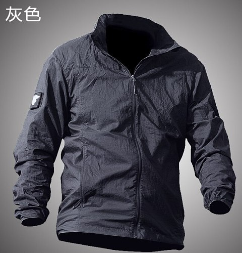 Summer Waterproof Quick Dry Tactical Skin Jacket Men Hooded Raincoat Thin Windbreaker Sunscreen Army Military Jacket