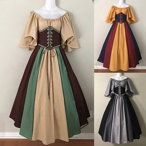 Women's Fashion Medieval Evening Dress Noble And Elegant Retro Dress Cosplay Evening Dress Formal Tunic Long Dress 2021 #G