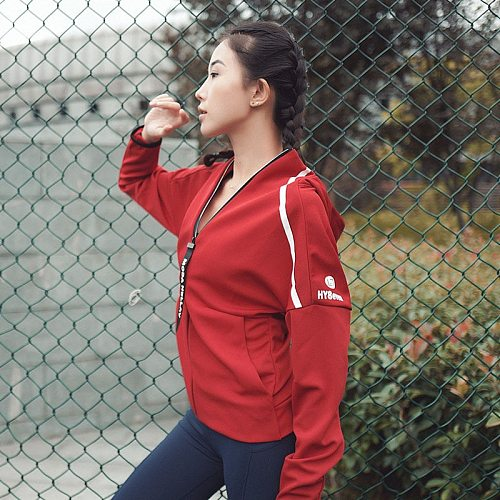 Running Jacket For Women Yoga Hooded Zipper Fitness Hoodies Long Sleeve Thumb Hole Workout Gym Sportswear Sweatshirt Outwear