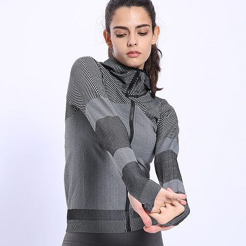 BINAND Women Sports Jacket Profession Gym Yoga Hoodie Elastic Fitness Long Sleeve Slim-fit Running Hooded Jacket Sweatshirts
