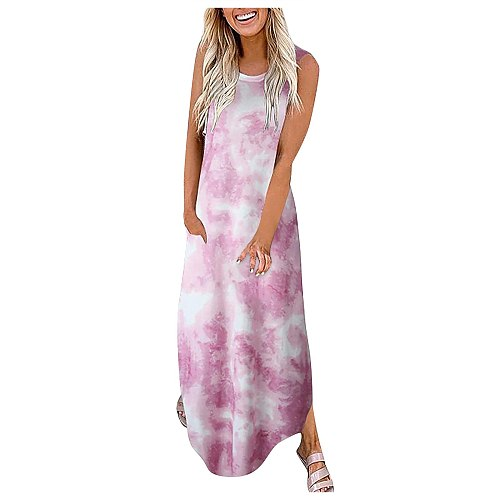 Women Casual Loose tie-dye print Pocket Long Dress Sleeveless Split Maxi Dresses 2021 Summer Bohemia Floral Print Beach Dresses
