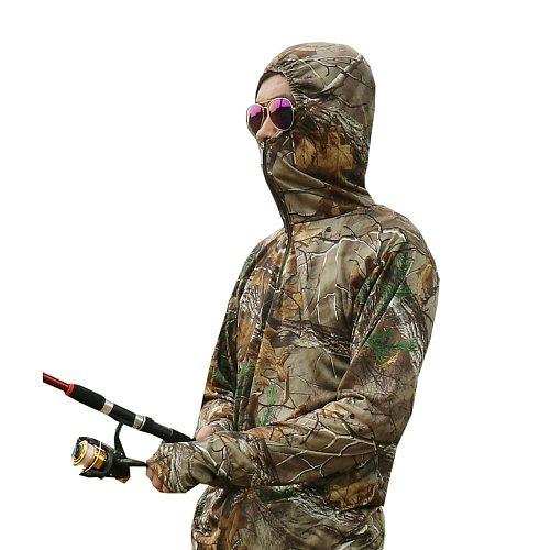 Men Bionic Fishing T-shirt Breathable Camouflage Shirt Long Sleeve Summer Fishing Hoodie Layer Anti- UV Sun Protection