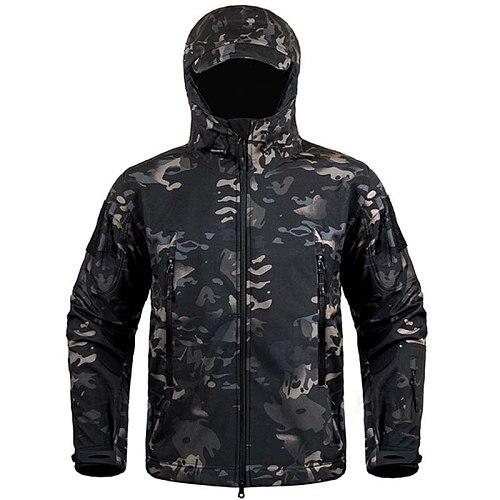 Hiking Jackets Shark Skin Soft Shell Clothes Tactical Jacket Mens Military Windbreaker Flight Pilot Hood Fleece Field Jacket