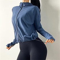 New Hooded Sports Yoga Tops Women Loose Training Workout Jacket Zipper Running Jacket Fitness Tracksuits Long Sleeve Sweatshirt