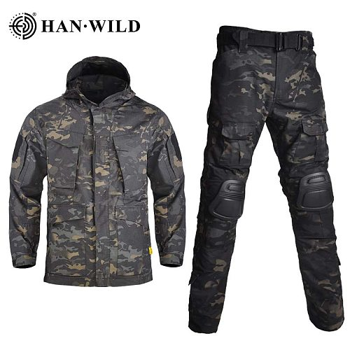 HAN WILD M65 Hiking Jackets&Pants with Pads Hunting Camouflage Jacket Tactical Sets Hoodie Military Hunting Coats&Jackets Hoodie
