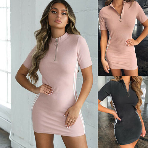 Women Summer Tennis Dresses Short Sleeve Zipper Dress Sport Long Tops Casual Mini Slim One Piece Mini Dresses