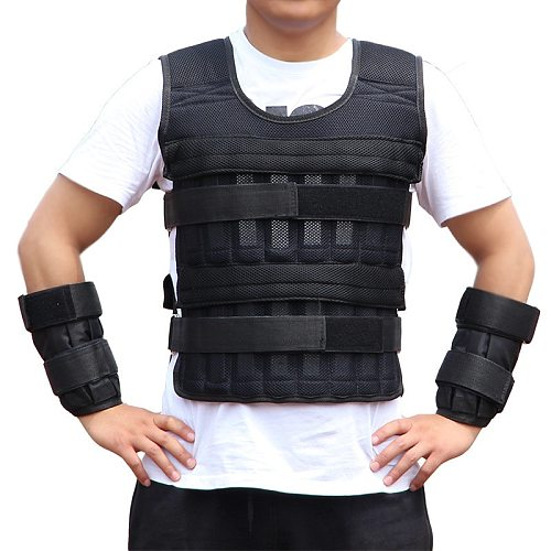 15kg 30kg Adjustable Weighted Vest Loading Weights Waistcoat For Boxing Training Workout Fitness Equipment Sand Clothing Boxing