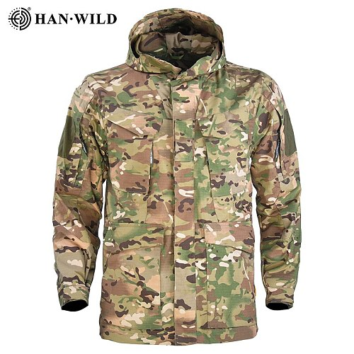 HAN WILD M65 Tactical Jacket Hiking Camping Jackets Long Hoodie Sports Coat Men Multi-pocket Jackets Waterproof Windbreaker